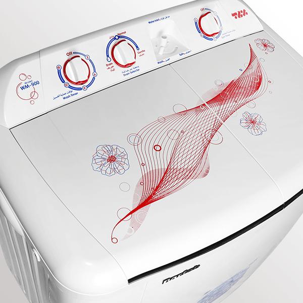 نمایی از درب دکمه ها و تزیینات ماشین لباسشویی دوقلو مدل WM-900